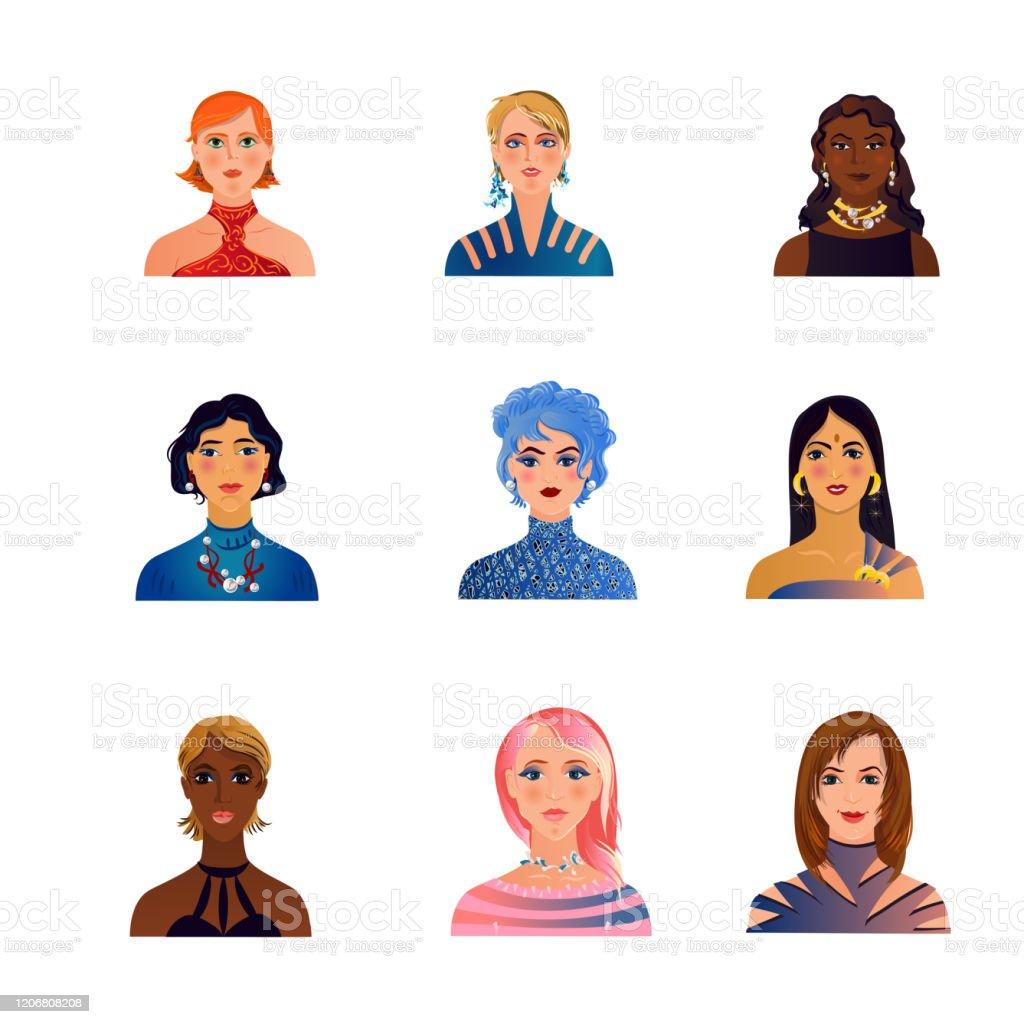 Reeks leuke, manier, kleurrijke vrouwen of meisjesavatars - Royalty-free Avatar vectorkunst