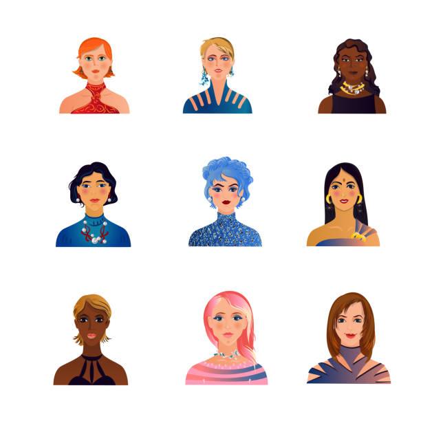 stockillustraties, clipart, cartoons en iconen met reeks leuke, manier, kleurrijke vrouwen of meisjesavatars - curly brown hair