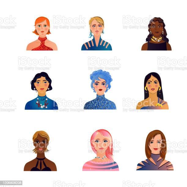 Reeks Leuke Manier Kleurrijke Vrouwen Of Meisjesavatars Stockvectorkunst en meer beelden van Avatar
