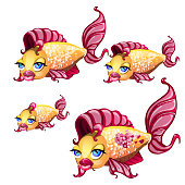 A set of cute fish with animated lips isolated on white background. Vector cartoon close-up illustration