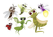 Set of Cute Flying Insects Cartoon Character,Vector insects design,mosquito,Grasshopper,Dragonfly,Mantis,Firefly and Ladybug on White Isolated background.