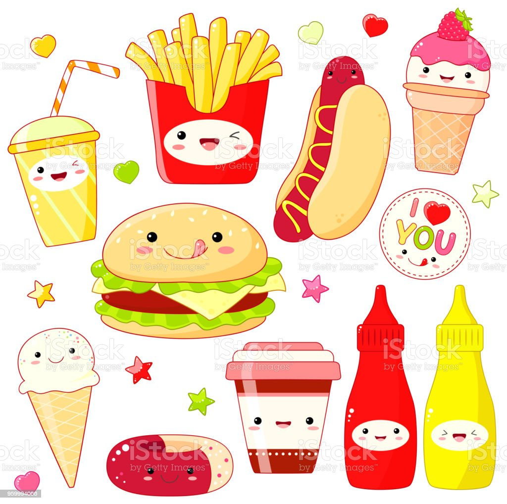 かわいいスタイルのかわいい食べ物アイコンのセット アイスクリームの