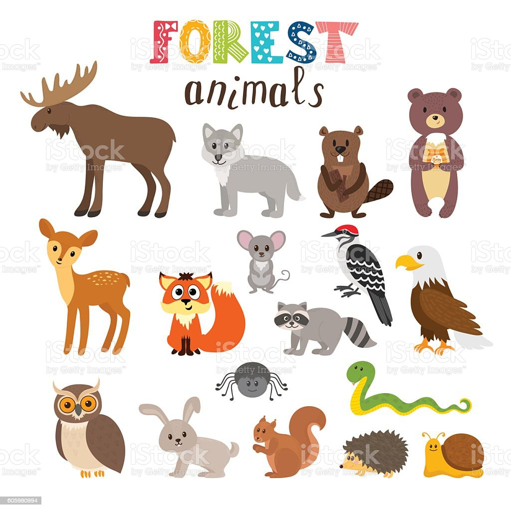 set of cute forest animals in vector woodland cartoon style stock