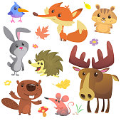 Set of cute forest animals isolated on white background. Cartoon bird, hedgehog, beaver, bunny rabbit, chipmunk, fox, mouse and moose elk. Vector illustration