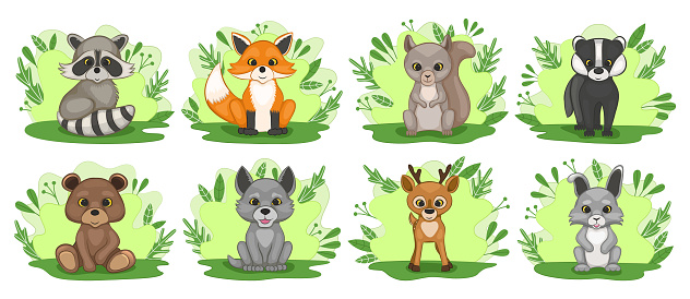 Set of cute forest baby animals. Fox, wolf, bear, hare, raccoon, deer, badger, squirrel.