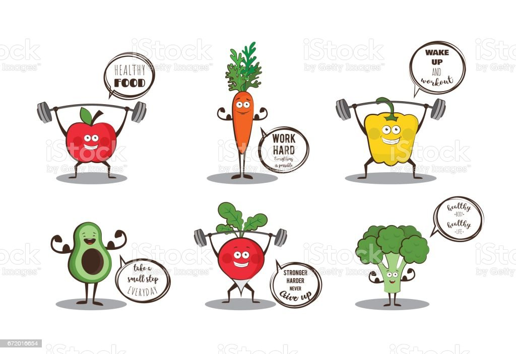 Set Of Cute Fruits And Vegetables Doing Sport With