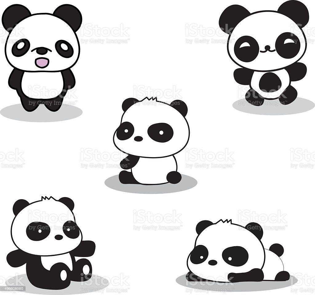 set of cute funny cartoon pandas stock vector art amp more