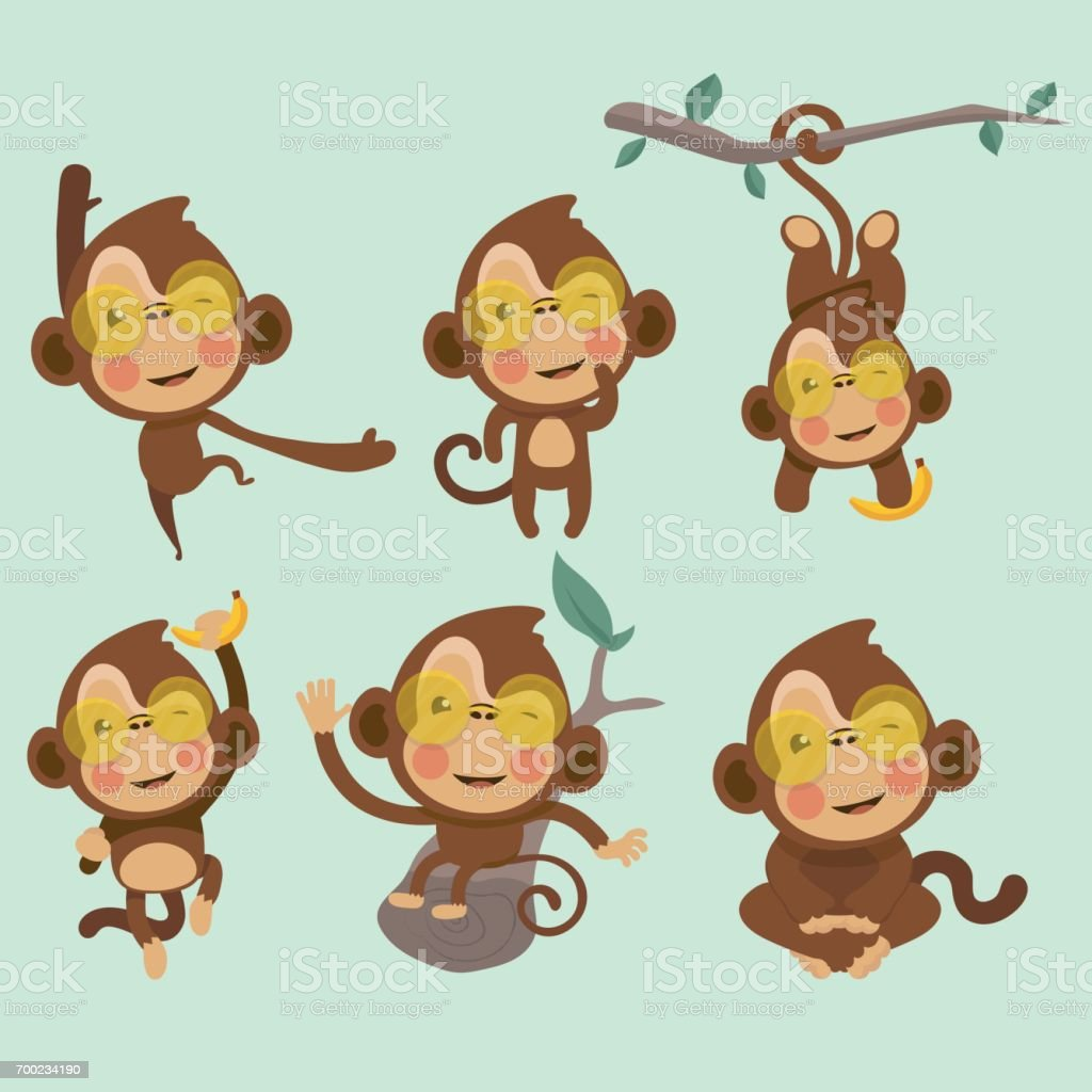 Satz von niedlichen Lustige Affen. – Vektorgrafik