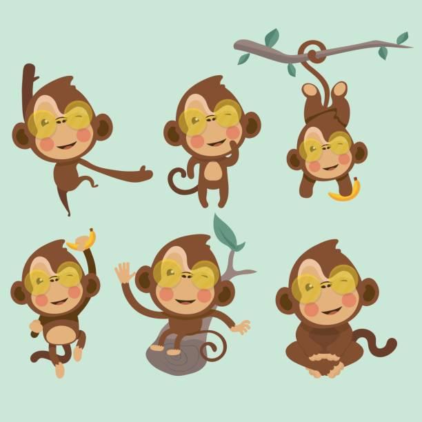 set of cute funny monkeys. - monkey stock illustrations