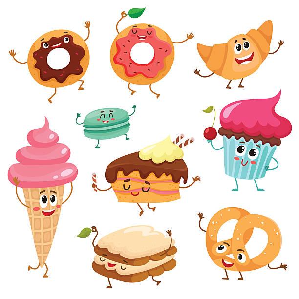 set of cute, funny smiley dessert characters - tiramisu stock-grafiken, -clipart, -cartoons und -symbole
