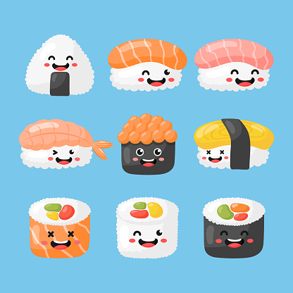 set of cute funny sushi and sashimi cartoon. japanese food kawaii style isolated on blue background. illustration vector.