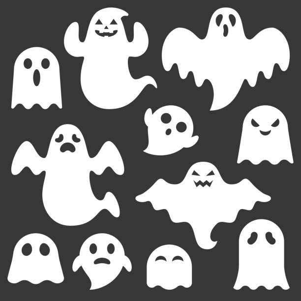 zestaw ładny zestaw tworzenia duchów, zmienna twarz, płaski wektor projektu na halloween - upiorny stock illustrations