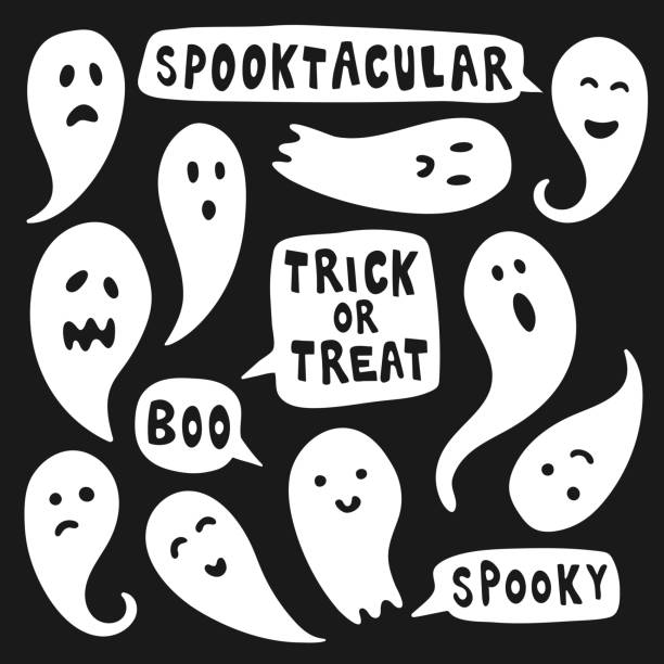 Set of cute ghost illustrations with halloween texts vector art illustration