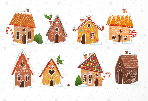Set of cute gingerbread houses with christmas decorations on white background.