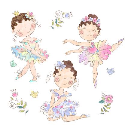 Set of cute girls ballerinas. Vector illustration.