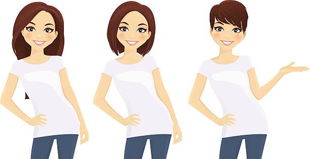 ilustraciones, imágenes clip art, dibujos animados e iconos de stock de conjunto de chicas en blanco, camisetas monada - cabello castaño