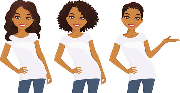 Set of cute girls in white T-shirts vector art illustration