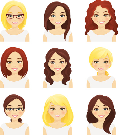 Set of cute girls