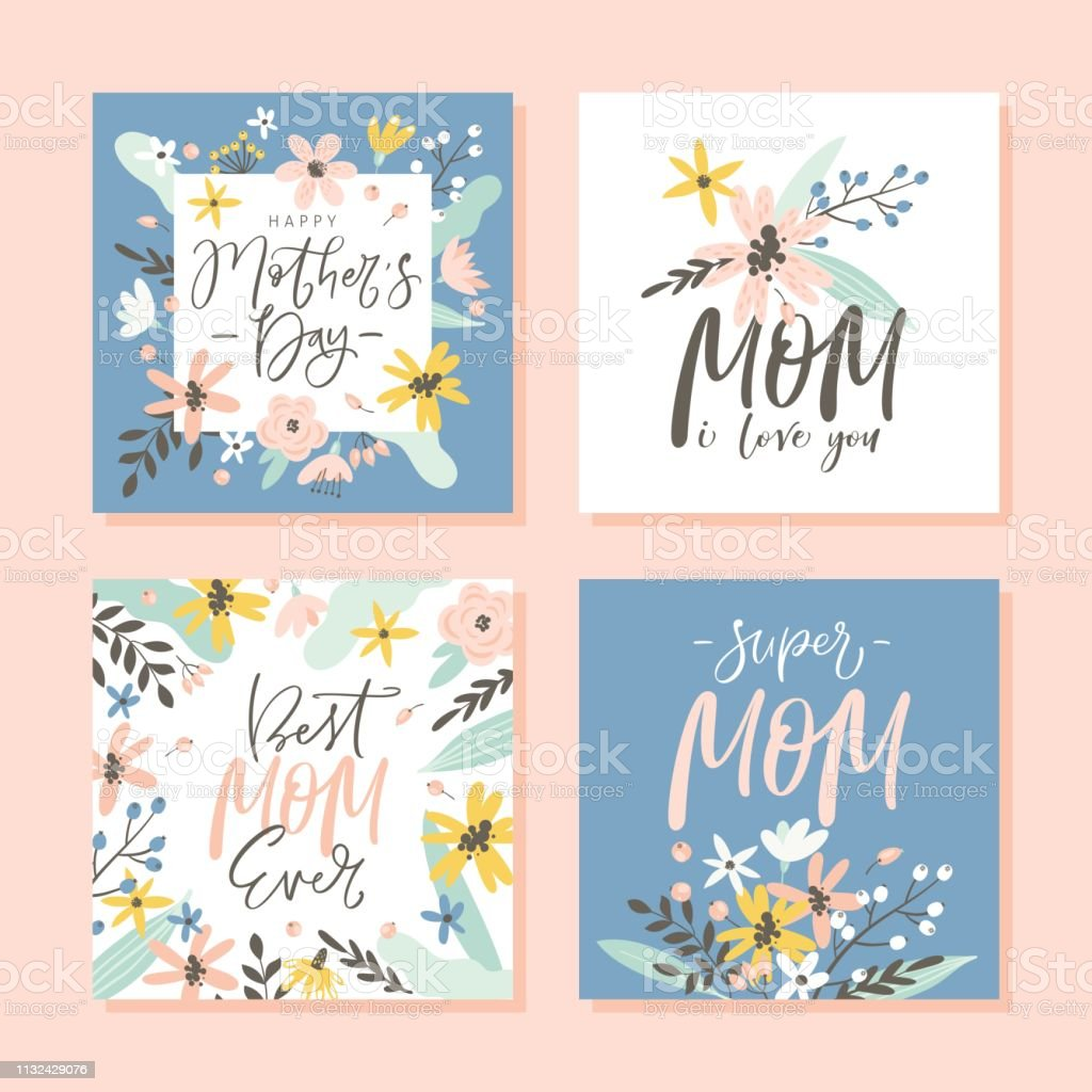 Miraculous Set Of Cute Greeting Cards For Mothers Day With Hand Drawn Blossom Funny Birthday Cards Online Fluifree Goldxyz