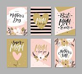 Set of cute greeting cards for Mother's Day with hand drawn blossom flowers and modern brush calligraphy