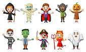 Vector illustration of set of cute halloween cartoon costumes children