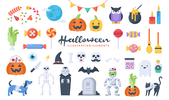 Set of cute Halloween illustration elements. Flat design style. Perfect for making your own original projects.