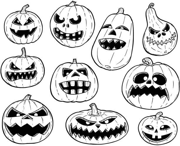 Vectores de Blanco Y Negro De Dibujos Animados Halloween Calabaza y ...