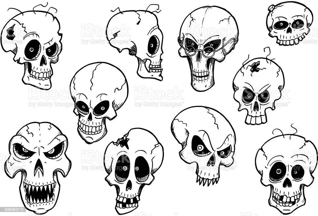 Jeu De Main Mignon Dessin Halloween Skull Illustrations
