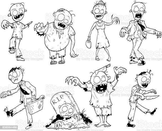 Dessin Halloween Zombie.Set Of Cute Hand Drawing Halloween Zombie Illustrations Stock Illustration Download Image Now Istock