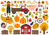 Set of cute hand drawn autumn objects. Fall season decoration. Collection of scrapbooking elements for autumn party, farmers market, harvest festival or Thanksgiving day.