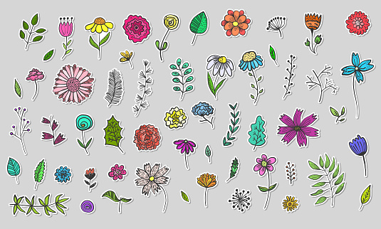Set of Cute Hand Drawn Colorful Flowers stickers