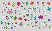 Set of Cute Hand Drawn Colorful Flowers and Herbs stickers, Plants with Black Outline. Big Vector Collection of Floral Graphic Labels for Pattern Design, Greeting Card Decoration,