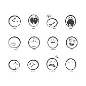 Set of 12 hand drawn black and white emoticons reactions. Cartoon and minimalistic style.