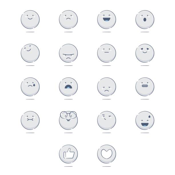 set of cute hand drawn emoticons - angry emoji stock illustrations, clip art, cartoons, & icons
