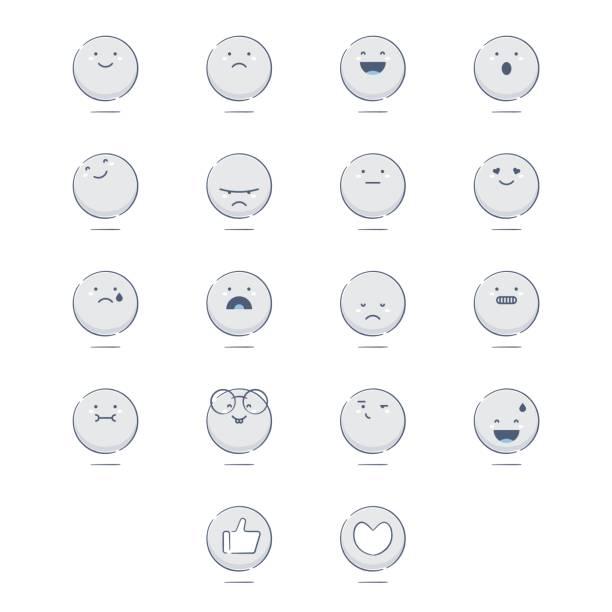 ein set von niedlichen handgezeichnet emoticons - verwirrtes emoji stock-grafiken, -clipart, -cartoons und -symbole