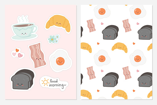 Set of cute hand drawn food for breakfast with seamless pattern background . Flat hand drawn illustration kid's poster banner