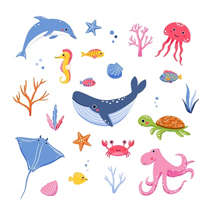 Set of cute hand drawn sea animals and coral reef inhabitants in cartoon style