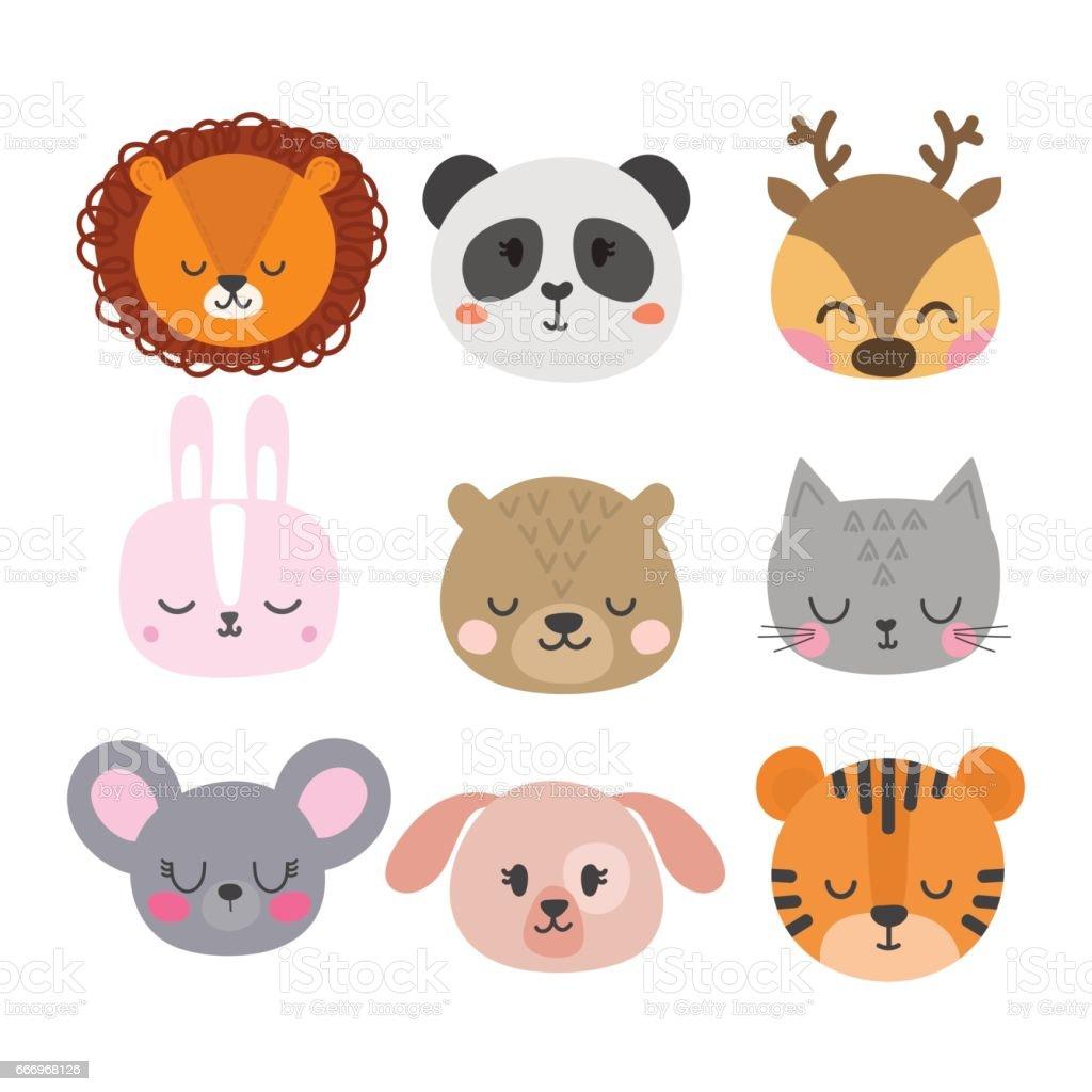 かわいい手描きの動物を笑顔のセットです猫ウサギライオンパンダトラ犬鹿