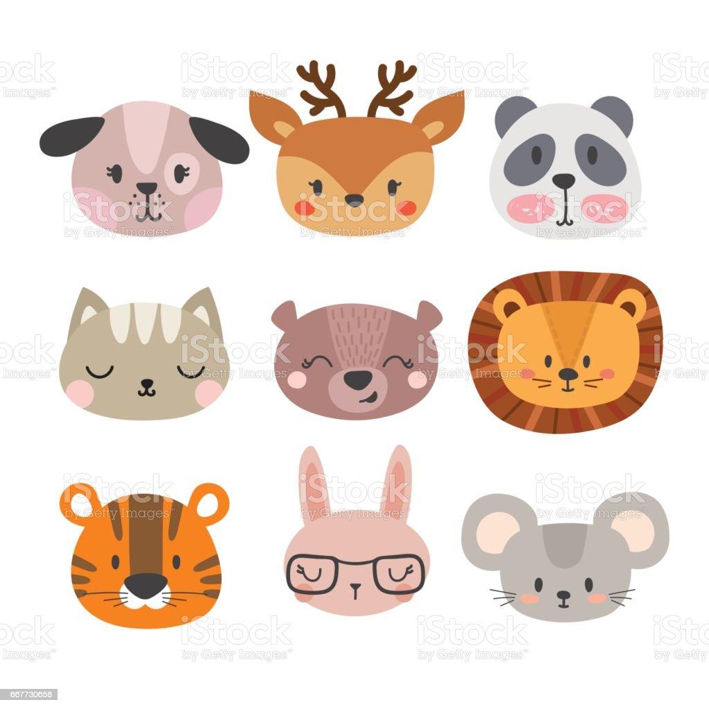 Satz Von Niedlichen Handgezeichnete Lächelnd Tiere Katze Löwe Panda