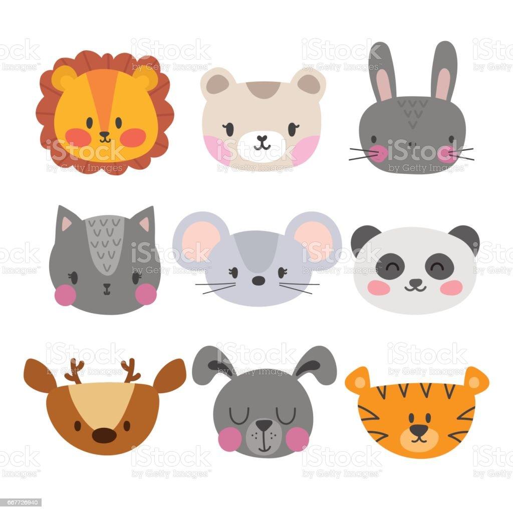 Set Of Cute Hand Drawn Smiling Animals Cat Lion Panda Tiger
