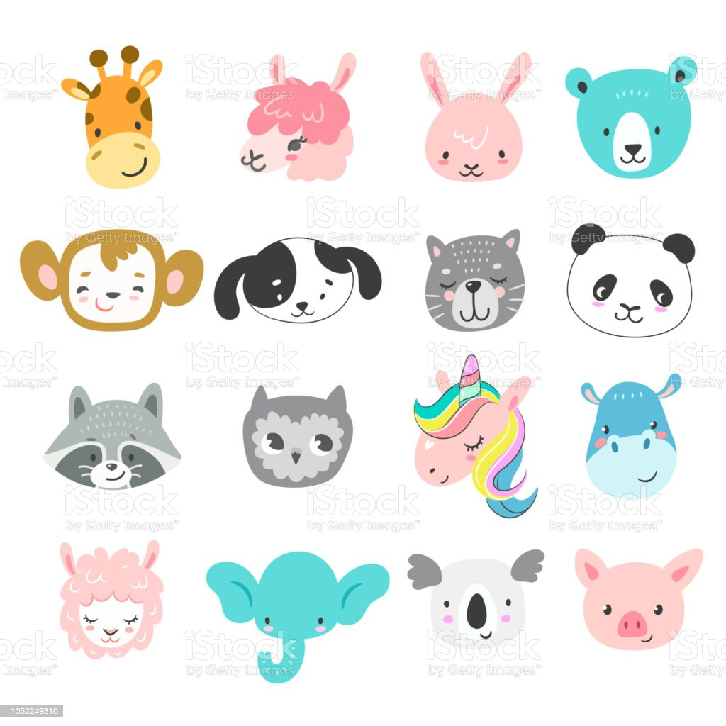 Set of cute hand drawn smiling animals characters. Cartoon zoo....