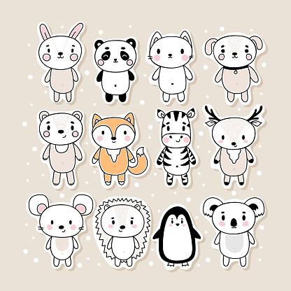 Set of cute hand drawn stickers with animals. Funny cartoon characters. Bunny, panda, cat, dog, bear, fox, zebra, deer, mouse, hedgehog, penguin, koala
