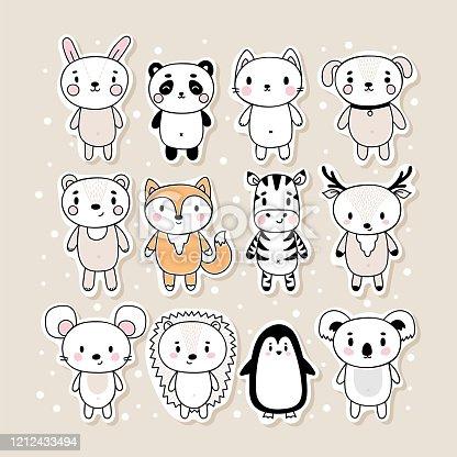 Conjunto de pegatinas dibujadas a mano con animales. Divertidos personajes de dibujos animados. Conejito, panda, gato, perro, oso, zorro, cebra, ciervo, ratón, erizo, pingán, koala