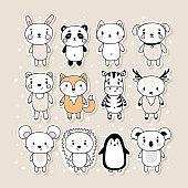 Set of cute hand drawn stickers with animals. Funny cartoon characters. Bunny, panda, cat, dog, bear, fox, zebra, deer, mouse, hedgehog, penguin, koala. Vector illustration