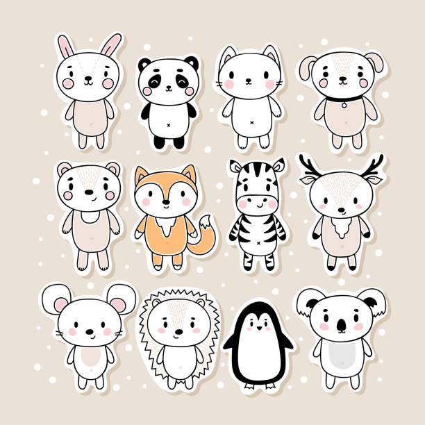 illustrations, cliparts, dessins animés et icônes de ensemble d'autocollants dessinés à la main mignon avec des animaux. personnages de dessins animés drôles. lapin, panda, chat, chien, ours, renard, zèbre, cerf, souris, hérisson, pingouin, koala - panda