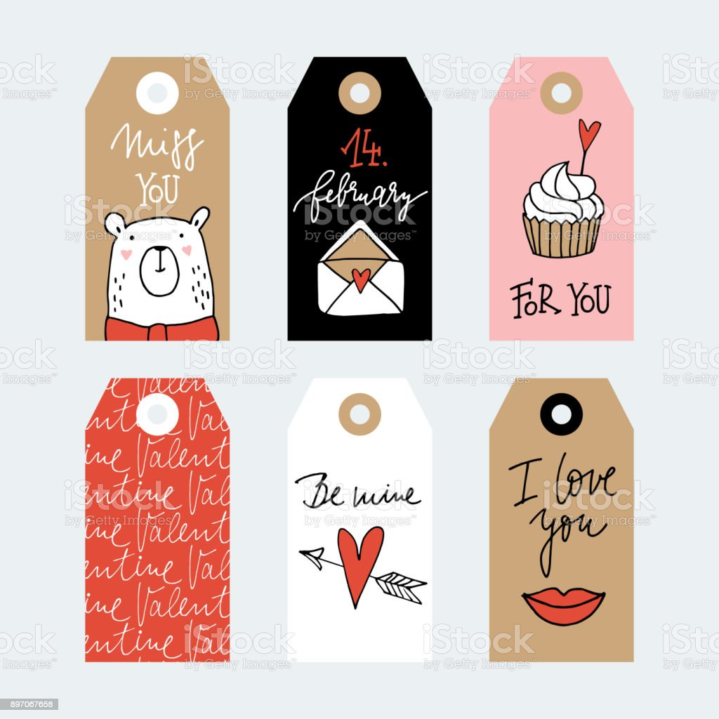 Set Of Cute Hand Drawn Valentines Day Or Wedding Gift Tags With