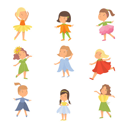 Set of cute happy kids girl in flower clothes