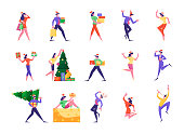 Set of Cute Happy Tiny People Celebrating New Year and Christmas Holidays, Carrying and Decorate Spruce Tree by Festive Light Bulb Garland, Dancing and Giving Gifts. Cartoon Flat Vector Illustration
