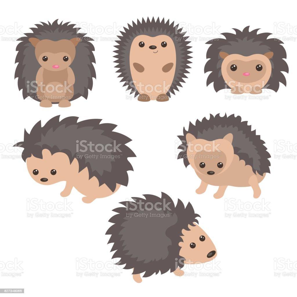 Set of cute hedgehogs vector art illustration