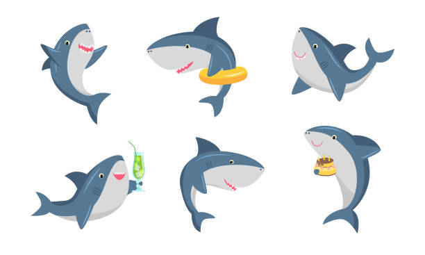 Set of cute humanized shark in different life situations. Vector illustration in flat cartoon style. Collection set of cute humanized shark. Ocean swimming shark in different life situations concept. Isolated icons set illustration on a white background in cartoon style. blue clipart stock illustrations